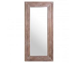 Vidiecke vysoké nástenné zrkadlo Siador s hrubým hnedým dreveným rámom 200cm