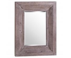Vintage hranaté závesné zrkadlo Fiestras s hrubým dreveným sivohnedým rámom  90cm