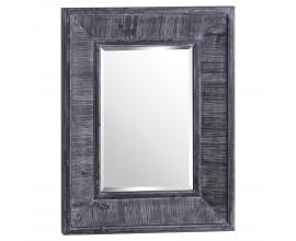 Vintage hranaté nástenné zrkadlo Moalde s hladkým dreveným sivým rámom 90cm