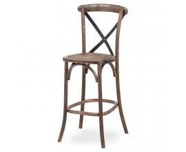 Vidiecka hnedá dubová barová stolička Nigoi s prekríženým čiernym kovovým operadlom 114cm
