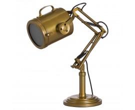 Industriálna mosadzná polohovateľná stolná lampa Rumille z kovu