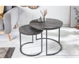 Industriálny set kruhových príručných stolíkov Elements z masívu sivej farby 55cm
