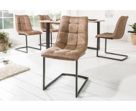 Dizajnová industriálna stolička Suava III s hnedým poťahom a s čiernou kovovou konštrukciou