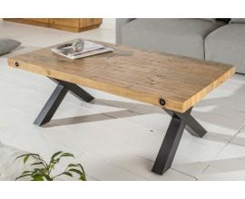 Štýlový industriálny jedálenský stôl Freyja z masívneho borovicového dreva svetlohnedej farby s čiernymi nohami z kovu