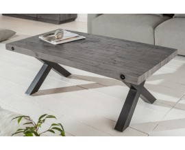 Industriálny dizajnový konferenčný stolík Freyja z masívu a kovu v sivej farbe 120cm