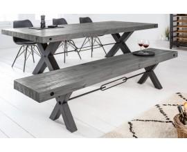 Industriálna lavica Freyja z masívneho  dreva v sivej farbe s kovovými nohami v tvare x