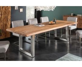 Industriálny jedálenský stôl Hege z masívneho akáciového dreva hnedej farby s kovovými nohami 200cm