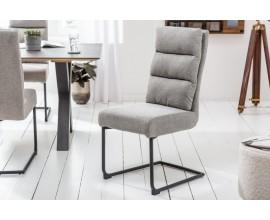 Štýlová industriálna kancelárska stolička Gallami s poťahom sivej farby a s čiernymi kovovými nohami