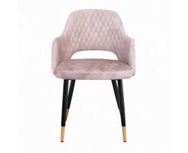 Art-deco stolička Fribourg s béžovým zamatovým poťahom a čierno-zlatými nohami