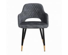 Dizajjnová art-deco stolička Fribourg v sivej farbe zo zamatu s čierno-zlatými nožičkami