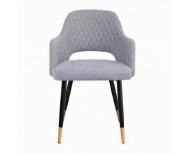 Dizajnová art-deco stolička v sivej farbe s kovovými nožičkami čierno-zlatej farby