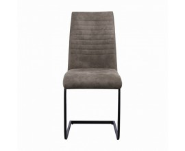 Štýlová moderná jedálenstká stolička Gristol s čalúnením v béžovej farbe a s čiernou kovovou konštrukciou