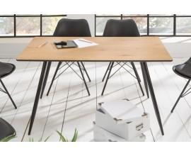 Štýlový hranatý jedálenský stôl Roanne s drevenou dokosu a retro čiernymi nohami z kovu