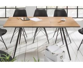 Štýlový retro rozkladací hnedo-čierny jedálenský stôl Roanne s kovovými nohami