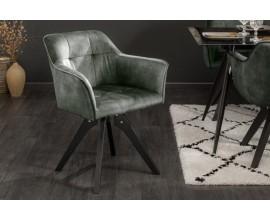 Retro otočná stolička Garret so zeleným zamatovým poťahom a masívnymi nohami 81cm