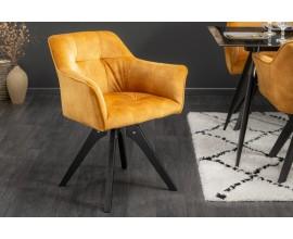 Retro otočná stolička Garret so žltým zamatovým poťahom a masívnymi nohami 81cm