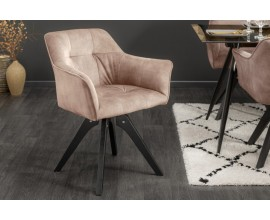 Industriálna otočnáá stolička Garret so zamatovým čalúnením v svetlohnedej farbe as čiernymi masívnymi nohami