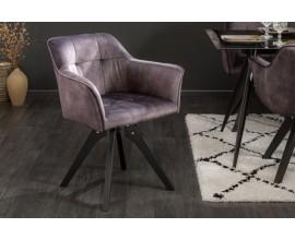 Dizajnová retro stolička Garret s tmavošedým zamatovým poťahom, s podrúčkami a čiernymi masívnymi nohami