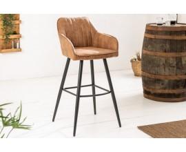 Moderná barová stolička Vittel z mikrovlákna hnedej farby s čiernymi kovovými nohami 102cm