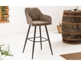 Moderná barová stolička Vittel z mikrovlákna sivohnedej farby s čiernymi kovovými nohami 102cm
