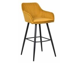 Moderná barová stolička Vittel zo zamatu v žltej farbe s čiernymi kovovými nohami 102cm