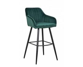 Moderná barová stolička Vittel so zamatovým smaragdovozeleným poťahom s čiernymi kovovými nohami 102cm