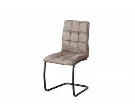 Dizajnová nadčasová jedálenská stolička Issoires poťahom z mikrovlákna šedohnedej farby s konštrukciou z kovu