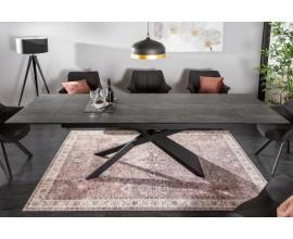 Moderný rozkladací sivý jedálenský stôl Marmol s keramickou doskou a čiernou prekríženou konštrukciou z kovu 260cm