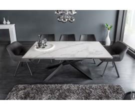 Mramorový šedo-biely keramický rozkladací jedálenský stôl Marmol s čiernou prekríženou konštrukciou z kovu
