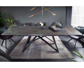 Moderný rozkladací keramický jedálenský stôl Epinal v tmavo sivej grafitovej farbe s kovovou konštrukciou 260cm