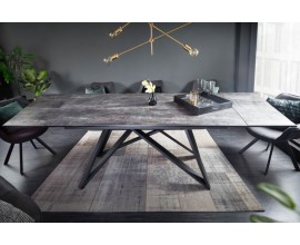 Moderný keramický sivý rozkladací jedálenský stôl Epinal betónovým povrchom a kovovou konštrukciou 260cm