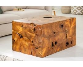 Vidiecky masívny konferenčný stolík Vezelay z teakového dreva hnedej farby 90cm
