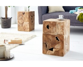 Vidiecky masívny príručný stolík Vezelay z teakového dreva 30cm