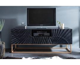 Moderný masívny TV stolík Cumbria v čiernej farbe so zatými nohami 160cm