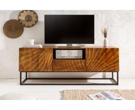 Moderný drevený TV stolík Cumbria v hnedom odtieni s čiernou kovovou konštrukciou 160cm