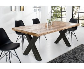 Industrialny masívny jedálenský stôl Steele Craft s čiernymi prekríženými nohami 160cm