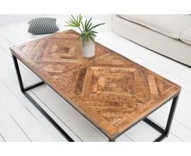 Industriálny konferenčný stolík Frida z masívneho dreva a kovu 100cm