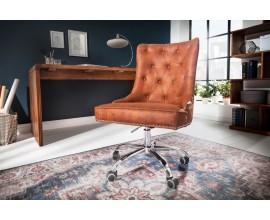 Dizajnové kancelárske kreslo Modern secretary na koliečkach s čalúnením z mikrovlákna hnedej farby