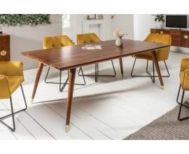 Masívny hranatý jedálenský stôl Roslin so zlatými prvkami 200cm