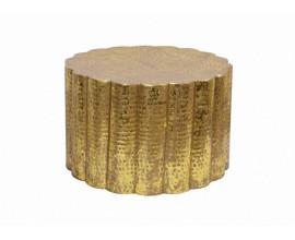 Orientálny kruhový konferenčný stolík Fluidoro v zlatej farbe z kovu 60cm