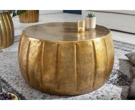 Orientálny okrúhly konferenčný stolík Adassil zlatej farby 65cm