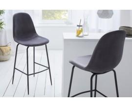 Retro barová stolička Scandinavia so sivým zamatovým poťahom 109cm
