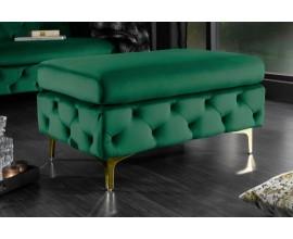 Baroková luxusná taburetka Modern Barock so smaragdovozeleným poťahom a zlatými nožičkami 90cm
