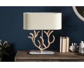 Koloniálna drevená stolná lampa Pure Nature s béžovým tienidlom 58cm