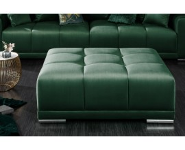 Moderný taburet Utopia v smaragdovo zelenom poťahu so striebornými nohami 110cm