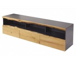 Moderný dubový TV stolík Lush Oak so sivou konštrukciou a tromi zásuvkami z masívu 180cm