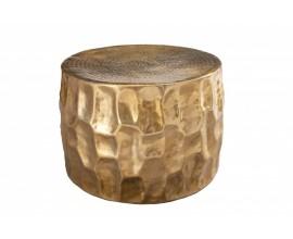 Moderný okrúhly konferenčný stolík Siliguri s kladivkovým povrchom v zlatom prevedení 53cm