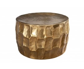 Orientálny zlatý konferenčný stolík Siliguri v zaoblenom tvare 68cm