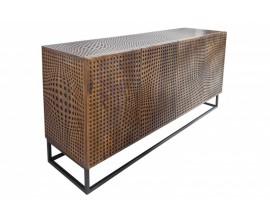 Masívna mangová komoda Colmena s dekoratívnymi dvierkami a kovovou konštrukciou 160cm