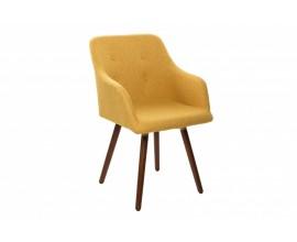 Retro žltá stolička Scandinavia s drevenými nohami 85cm